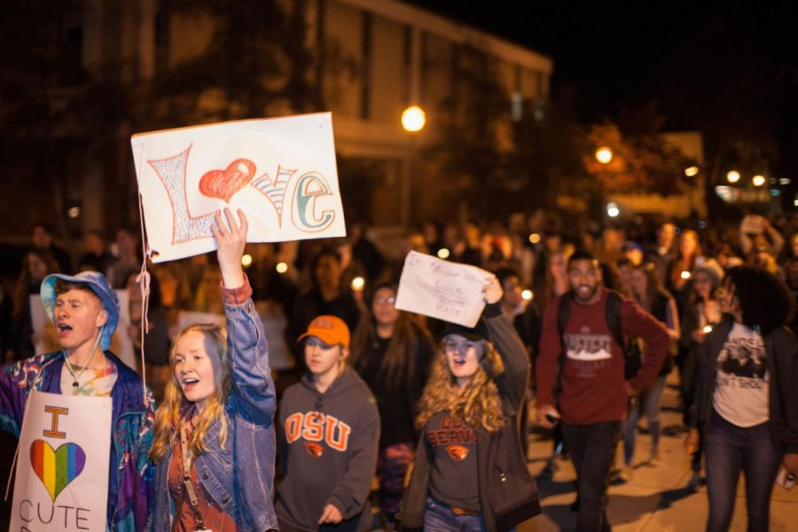 Hundreds of OSU students and community members gathered the night of Nov. 9 to promote unity and community in the wake of the national election results.