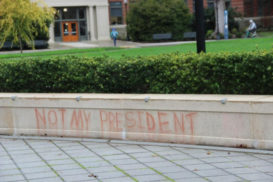 Graffiti outside the Valley Library that inspired new freedom of expression rules on campus.