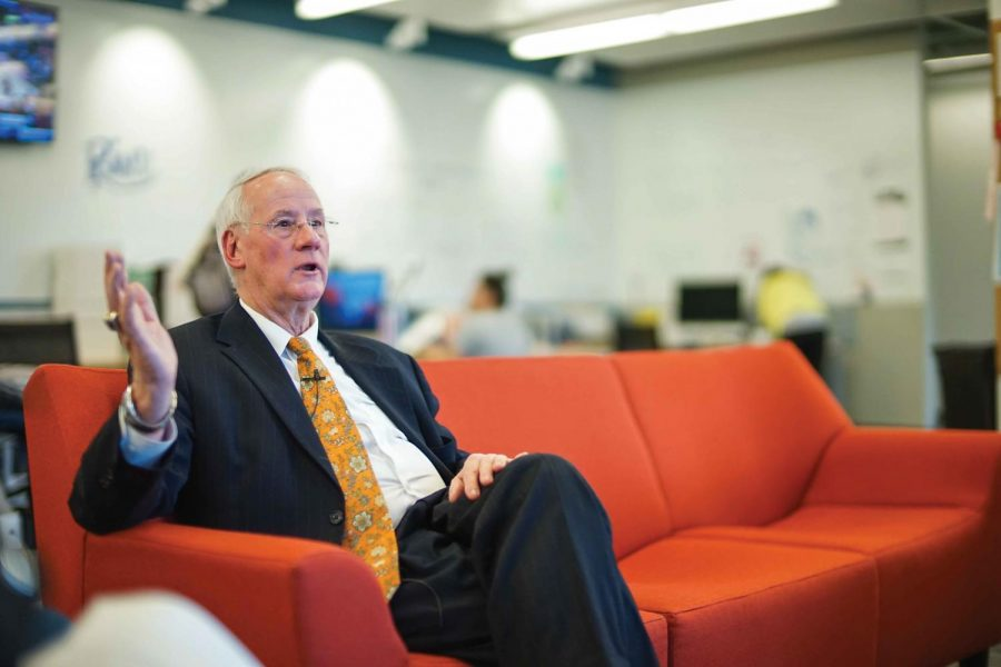 OSU President Ed Ray sits in the Orange Media Network Newsroom and discusses the 2016 State of the University Address.