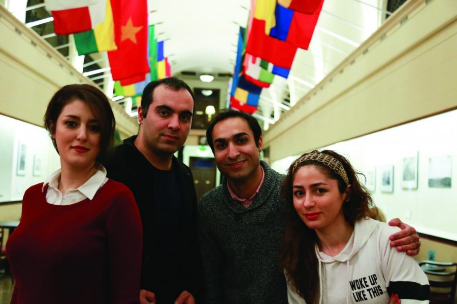 Sara Mahdavifard, Vahid Mahdavifard, Mohammad Pakravan, and Leila Ghorbanzaden (left to right) arefrom Iran, one of the seven countries affected by the ban.
