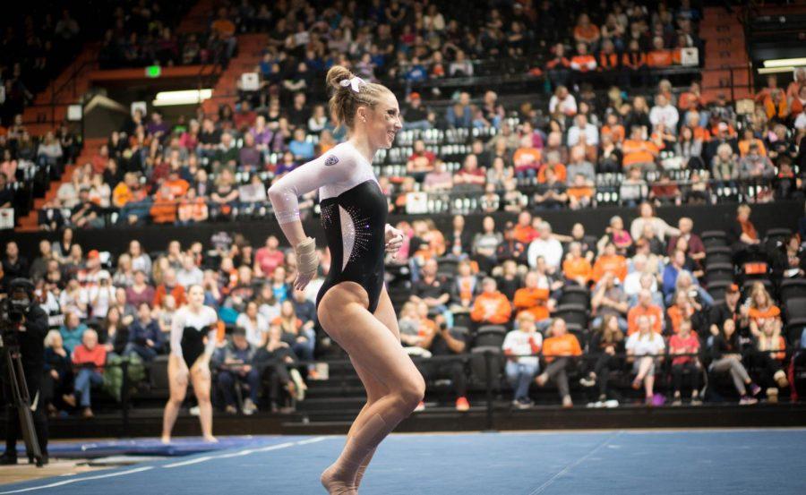 Kaytianna McMillan performs her floor routine