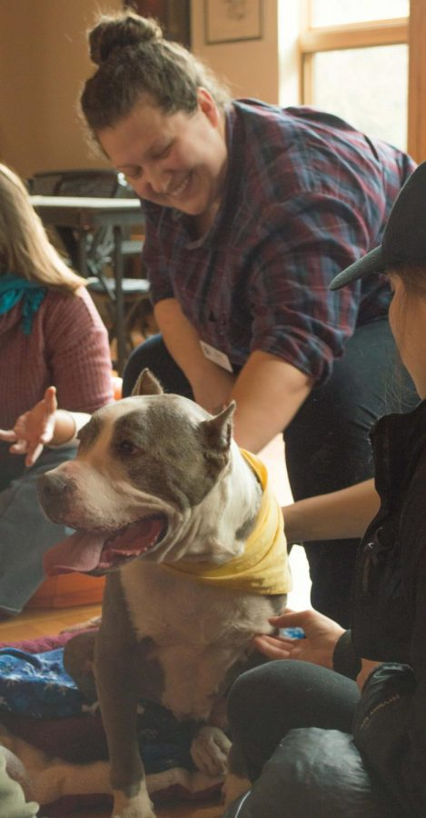 Hannah Agnew-Svoboda and Roco, a pitbull, at the Native American Longhouse event. The event included bringing in two dogs from the humane society, a relaxation fort, bean bags, coloring and a CAPS representative giving a stress-relieving workshop.
