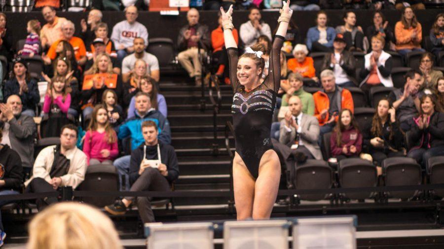 Kaytianna McMillan is one of six seniors on the OSU gymnastics team.