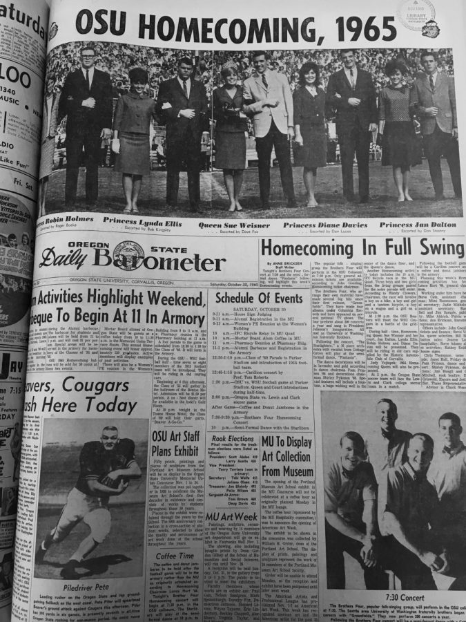 The Oregon State University Homecoming Court stands on the football field, as photographed in the 1965 Daily Barometer. This year's Homecoming Court will appear during halftime at the football game along with other events throughout the year to represent OSU. Students were selected last spring by a panel of staff, faculty and alumni.