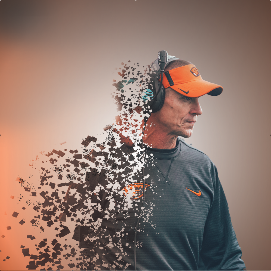 A photo illustration represents former head football coach Gary Andersen resigning from his position last week.