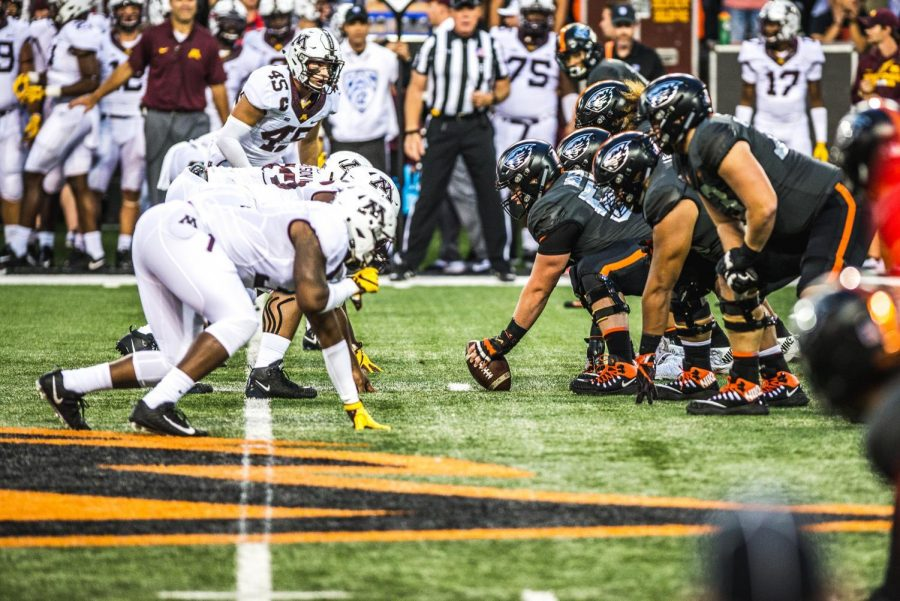 The OSU Beavers line up agains the Minnesota Golden Gophers on Sept. 9.