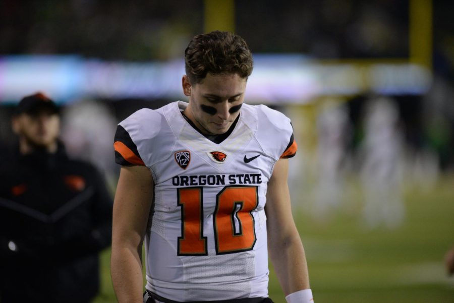 OSU+senior+quarterback+Darell+Garretson+left+the+Civil+War+with+an+injury+in+the+third+quarter.+This+was+his+final+game+as+a+Beaver.
