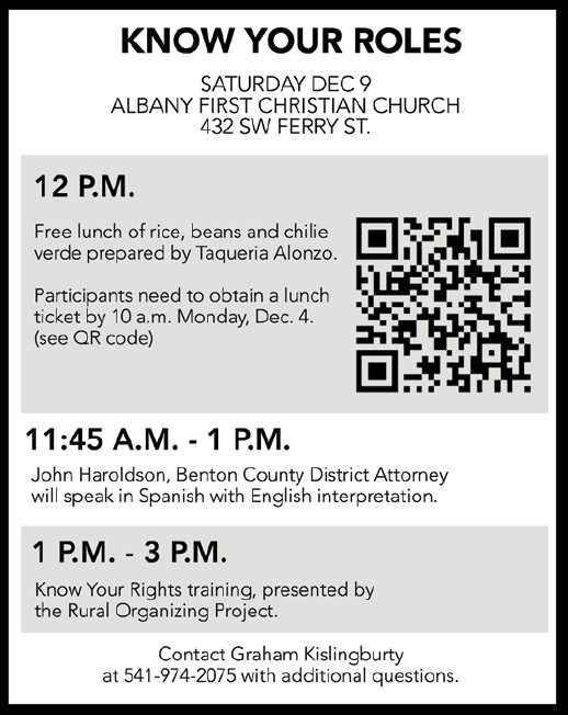 Know+Your+Roles+event+will+be+held+Dec.+9+at+Albany+First+Christian+Church.%C2%A0