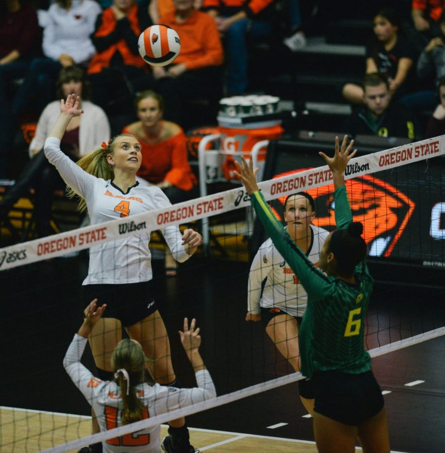 Redshirt+freshman+Outside+Hitter+Haylie+Bennett+elevates+for+a+spike+against+The+University+of+Oregon.+Bennett+has+recorded+245+kills+this+season%2C+trailing+only+Mary-Kate+Marshall+%28506%29+and+Maddie+Goings+%28313%29.