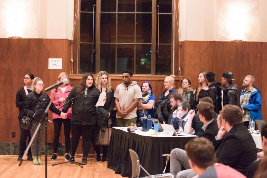 Philosophy+major+Emily+McDonald+speaks+alongside+a+group+of+protesters+during+the+ASOSU+Congress+joint+session+public+comment+portion.+McDonald+expressed+her+disapproval+of+Rep.+Oswalt%E2%80%99s+white+nationalist+views+and+place+within+ASOSU.+Several+other+protesters+spoke+after+McDonald%2C+expressing+similar+views.