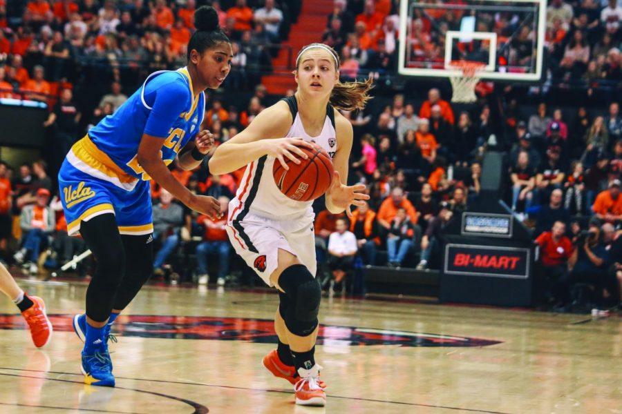 Sophomore+guard+Mikayla+Pivec+handles+the+ball+against+UCLA+last+season.