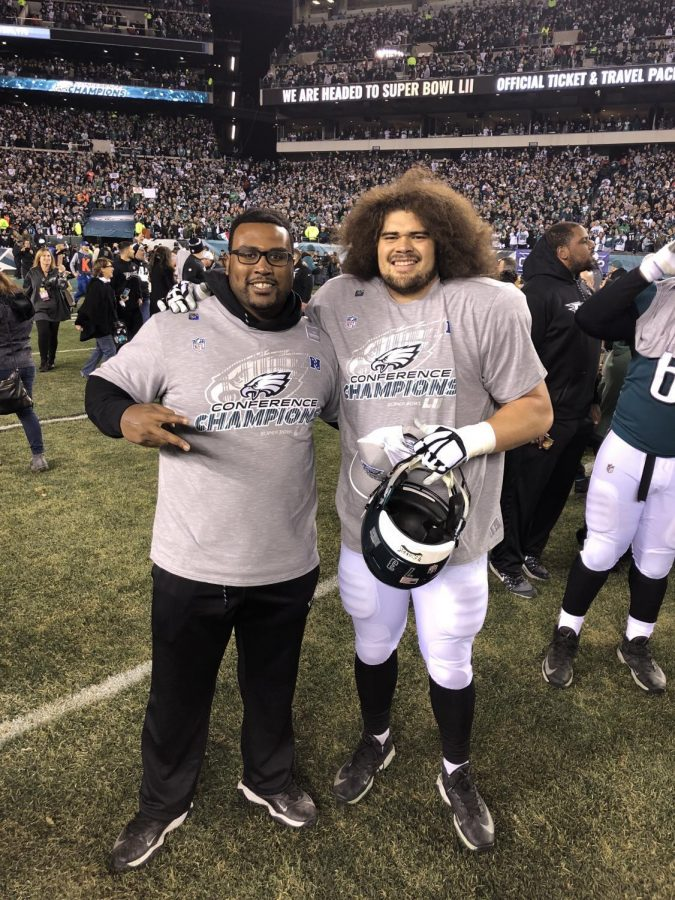 Josh+Andrews+and+Isaac+Seumalo+pose+on+the+field+after+they+found+out+the+Philadelphia+Eagles+were+going+to+the+Super+Bowl.+Andrews+and+Seumalo+were+teammates+at+OSU.
