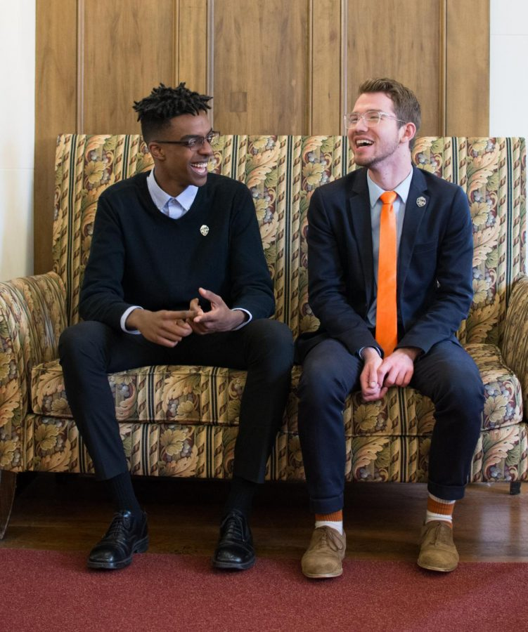 ASOSU+President-elect+Justin+Bennett+%28right%29+and+Vice+President-elect+Aiden+Tariku+share+a+laugh+on+Saturday%2C+Feb.+17%2C+following+the+presidential+elections+results.