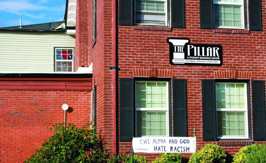 A+Confederate+flag+has+been+on+display+in+a+window+of+Andrew+Oswalts+room+in+The+Pillar%2C+a+private+mens+co-op+located+across+the+street+from+the+Lonnie+B.+Harris+Black+Cultural+Center%2C+since+September+of+2017.%C2%A0