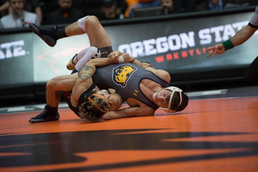 OSU+wrestler+wrestles+Northern+Colorado+team+in+Gil+Coliseum.%C2%A0