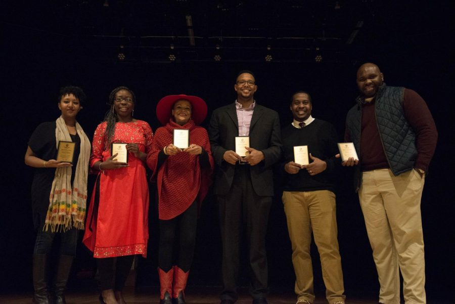 (left to right) OSU faculty Micknai Arefaine, Elizabeth Kaweesa, Shelley Moon, Jason Thomas, Jamar Bean, Dorian Smith were recognized for their outstanding work in helping the black community and the BCC.