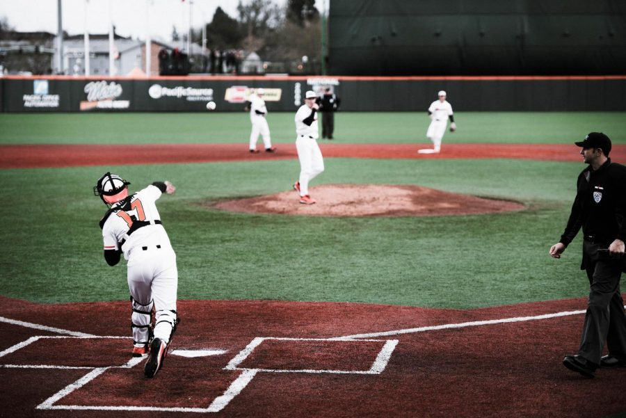 Freshman+catcher+Troy+Claunch+throws+the+ball+to+the+pitcher.+The+next+game+is+at+home+on+March+6.