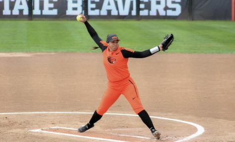 Sophomore pitcher Mariah Mazon throws a pitch during Sunday's game against the ASU Sun Devils at the OSU Softball Complex.The Beaver's lost 2-1 in the 15th inning after six extra innings.