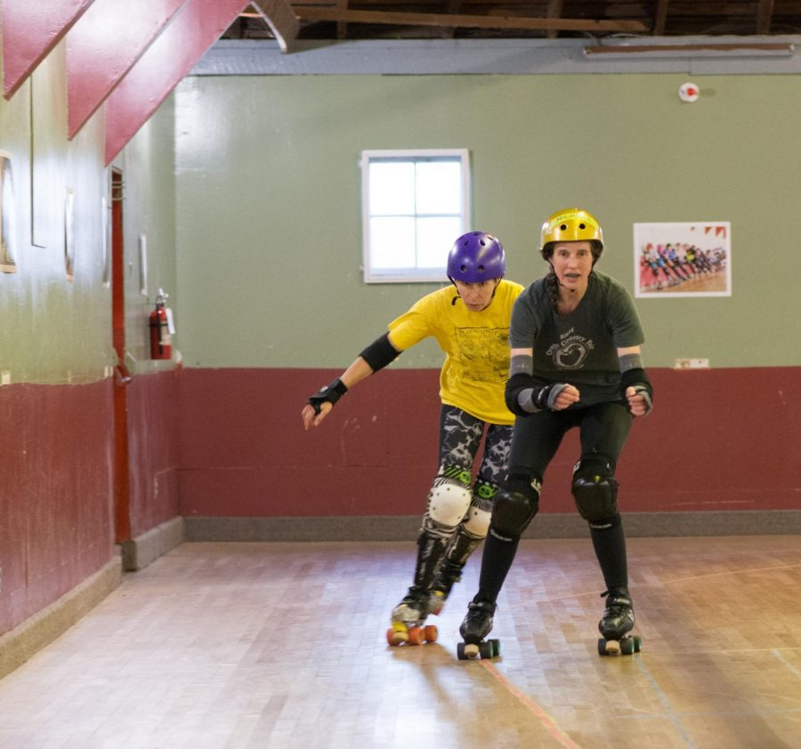 %28Left%29+JC+Briar+and+%28right%29+Michelle+Marie+skate+around+the+rink.+Briar+and+Marie+are+members+of+Sick%C2%A0Town+Derby+Dames%2C+the+local+roller+derby+rink+located+six+miles+north+of+Corvallis.