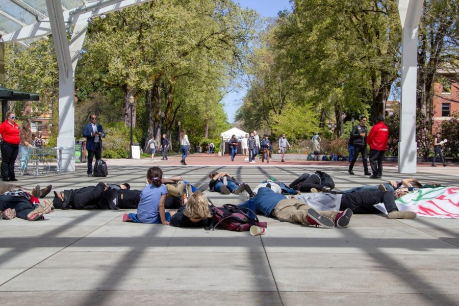 Students+United+for+Palestinian+Equal+Rights+-+OSU%C2%A0staged+a+die-in+protest+during+the+Israel+Block+Party+in+the+SEC+plaza+this+afternoon.+The+group+had+a+banner+that+said%2C+Free+Palestine.