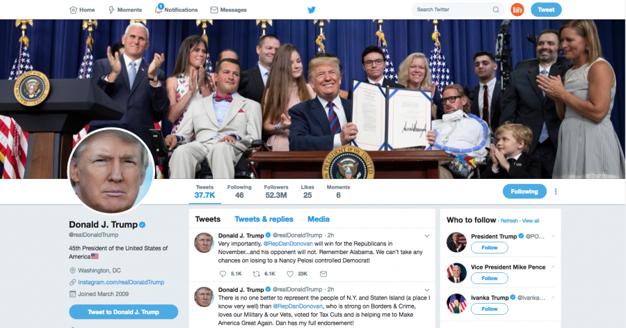 A+screenshoot+of+President+Trumps+twitter+feed%2C+where+his+words+reach+millions+and+can+have+an+impact+on+international+affairs.