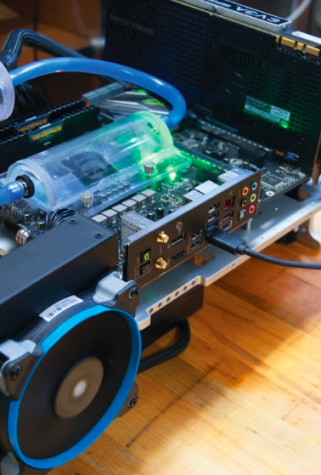 A Beaver Overdrive club computer with liquid coolant system that is currently being worked on by students. The club currently meets Wednesdays at 6 p.m. in Rodgers Hall, Room 332.