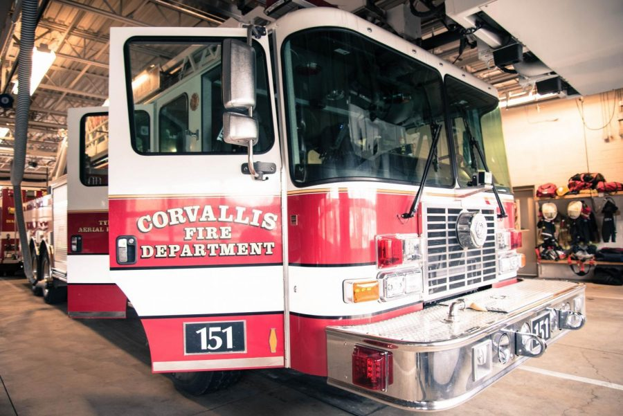 Fire+engine+151+is+the+only+ladder+rig+for+Station+1%2C+located+in+downtown+Corvallis.+The+rig+is+used+for+bigger+fires%2C+such+as+dormitory%2C+factory+or+hotels%2C+and+holds+roughly+3%2C000+gallons+of+water.