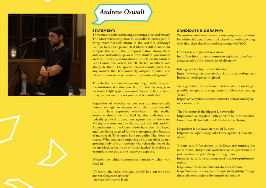 Andrew Oswalts platform for his Student Fee Committee candidacy was published in The Baro on May 14, 2018. The other six candidates platforms were published as well.