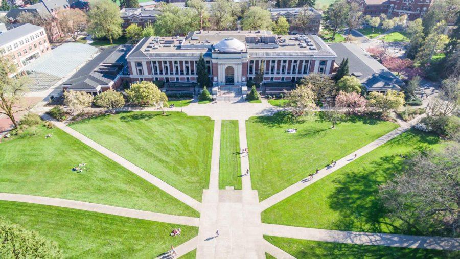 Drone photograph of the Memorial Union Quad.