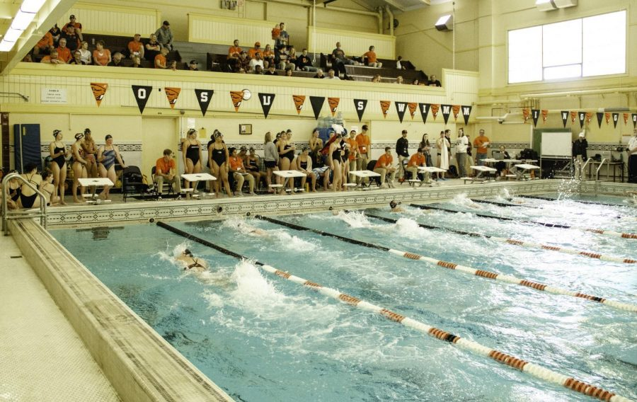 Current+and+former+OSU+Womens+Swimming+members+competing+against+each+other+in+the+annual+Alumni+Meet+at+Langton+Hall.