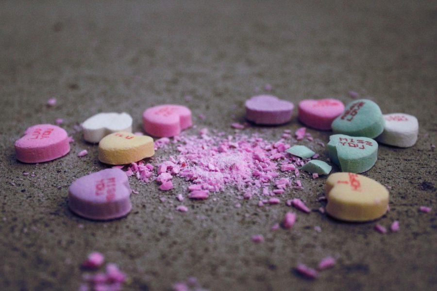Crushed+Sweethearts+candies+lie+on+the+ground.%C2%A0
