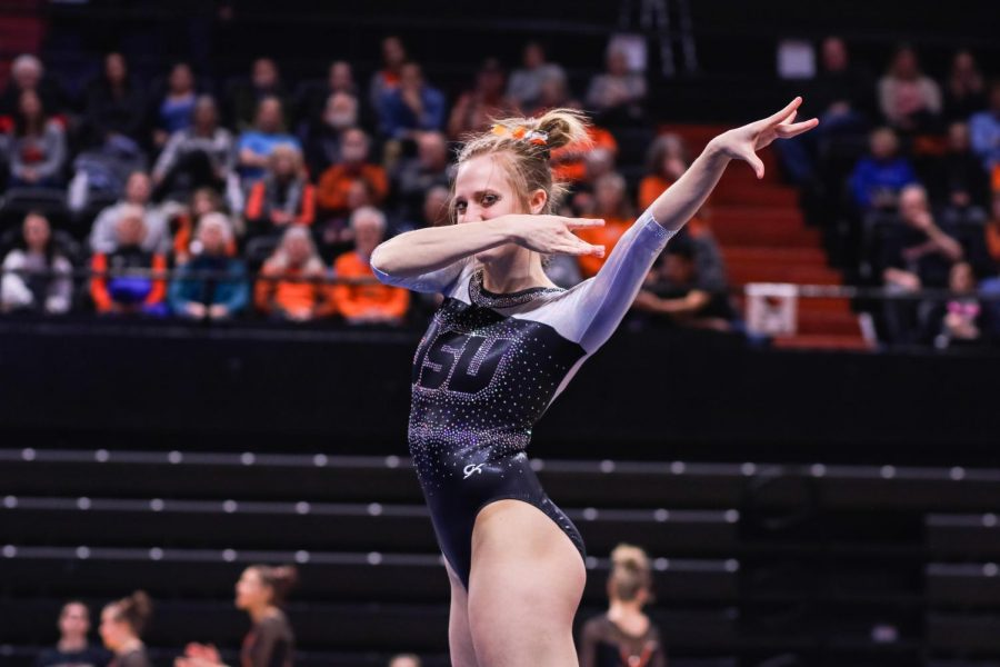 OSU+gymnast+McKenna+Singley+performing+her+floor+routine+against+Bowling+Green+and+Alaska+Anchorage.+Singley+celebrated+her+senior+night+in+the+four-way+meet+against%C2%A0Iowa%2C+North+Carolina+and+Seattle+Pacific+University+on+Friday+night+at+Gill+Coliseum.