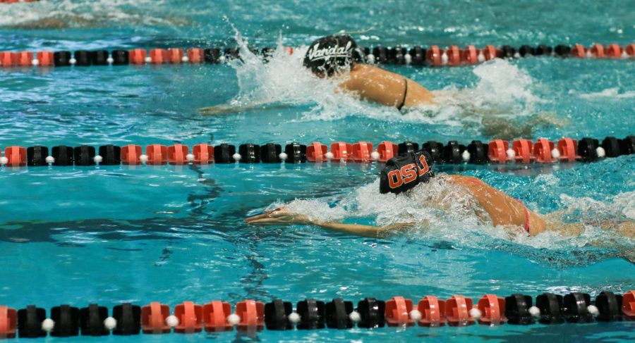 Oregon State and Idaho swimmers swim neck-and-neck to try and grab a win for their team. The Beavers were the ones to walk away victorious from the meet with a final score of 159.5-96.5.