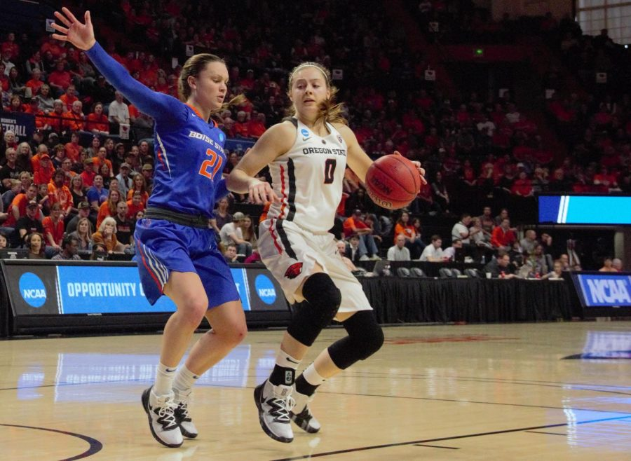 OSU+junior+guard+Mikayla+Pivec+shifts+towards+the+left+side+of+they+key+in+attempt+to+shake+BSU+guard+Riley+Lupfer.