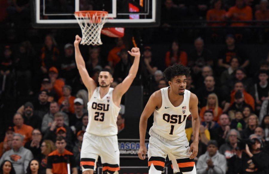 OSU center Gligorije Rakocevic (Left) and guard Stephen Thompson Jr. (Right) celebrated their senior nights against Arizona State at Gill Coliseum.