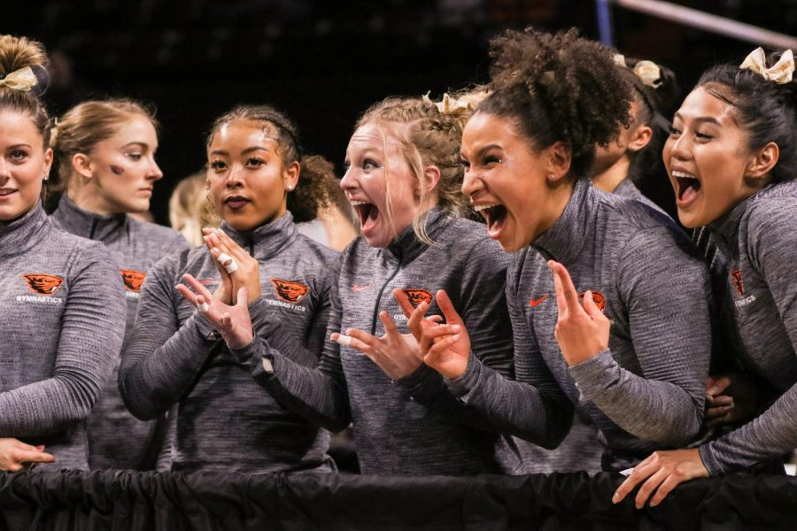 The+Oregon+State+Gymnastics+team+reacting+to+their+teams+performance+on+the+floor+at+the+NCAA+Regional+Finals+at+Gill+Coliseum.