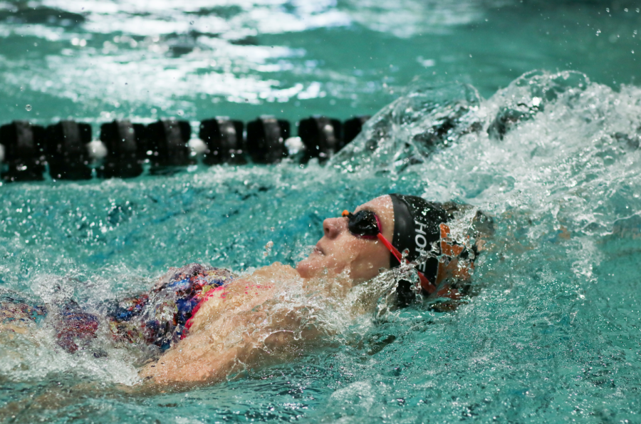 OSU Swimming member Brooke Hofmann swims backstroke during a swim meet. Hofmann holds the ninth best time in OSU history for the 100 meter backstroke with a count of 56.31 seconds.