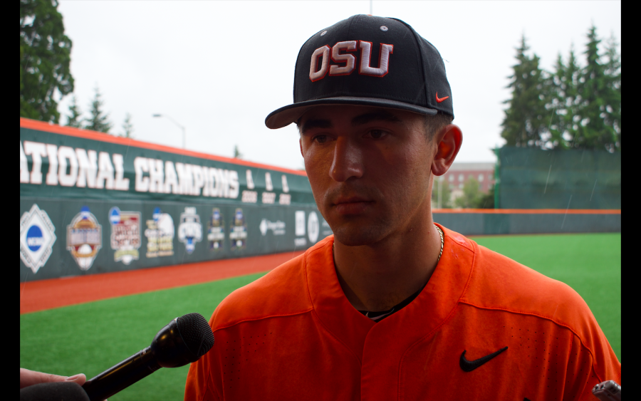 OSU+Junior+infielder+Beau+Philip+talks+with+the+press+after+Oregon+States+5-0+loss+to+USC+on+Saturday.+The+day+prior%2C+Beau+helped+the+Beavers+earn+their+solo+series+win+against+the+Trojans+by+nailing+a+home+run+over+the+left+wall%2C+which+landed+on+a+fans+windshield+in+the+process.