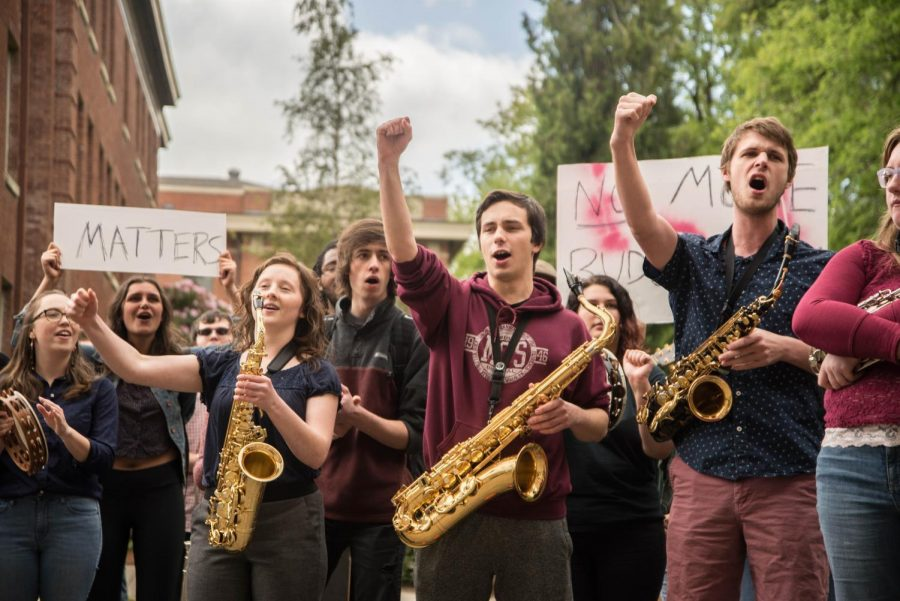 Students+march+from+Community+Hall+to+Bexell+Hall+and+back+on+Thursday%2C+May+2%2C+calling+for+increased+support+for+the+university%E2%80%99s+music+program.