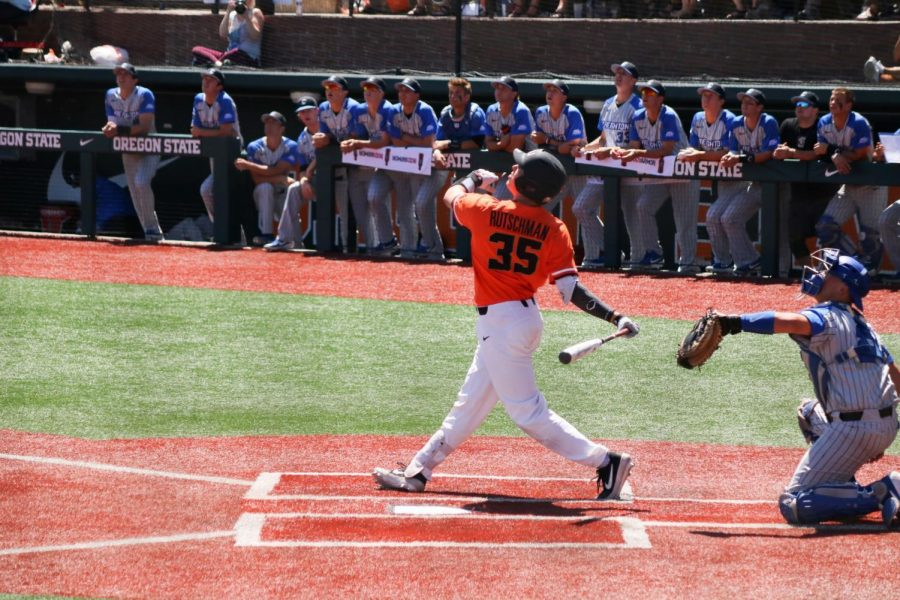 OSU Baseball junior catcher swings at the plate during the NCAA Regionals on June 1st at Goss Stadium.