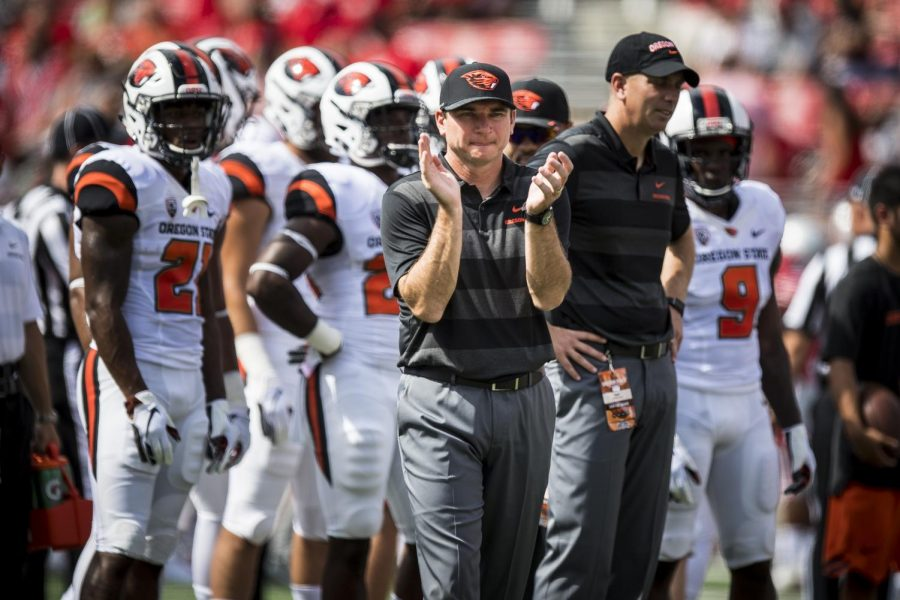 OSU Football head coach Smith encourages the team from the sidelines at Ohio State on Sept. 1, 2018.