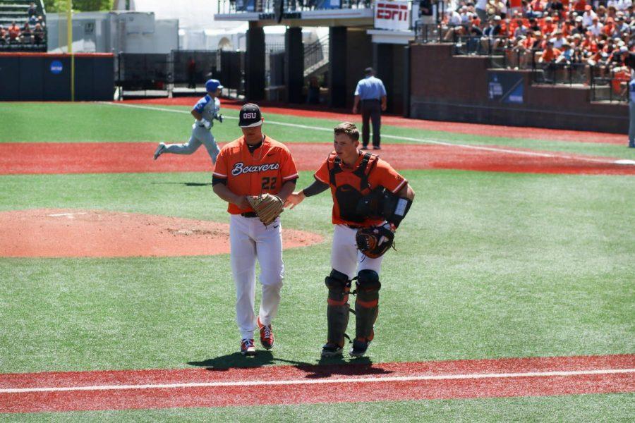 OSU catcher Adley Rutschman works with OSU pitcher Grant Gambrell at the NCAA Regionals in Goss Stadium on June 1st, 2019.