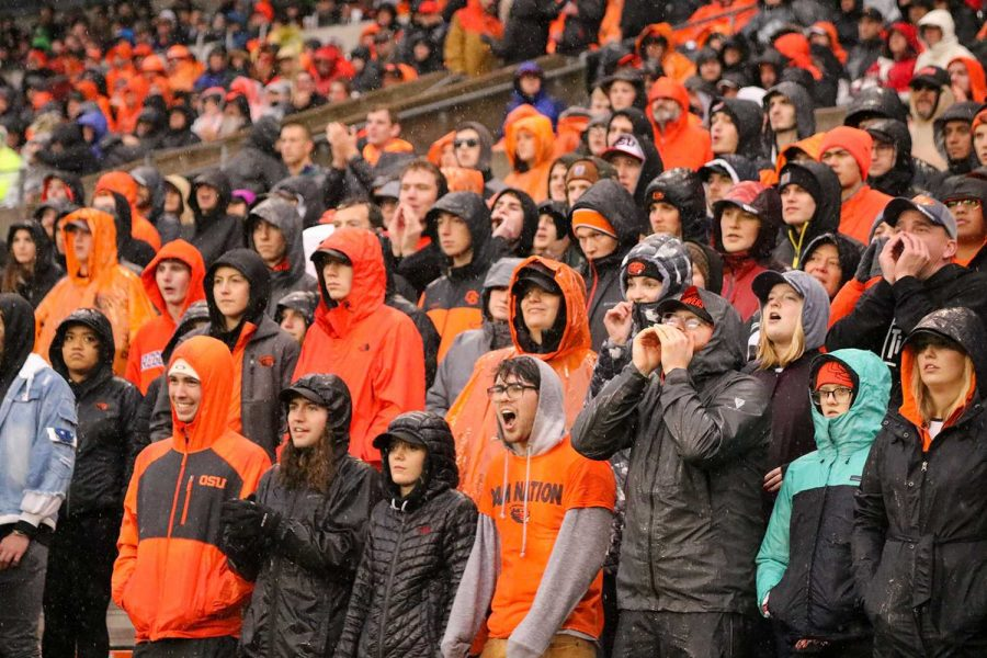 Students cheer on the Beavers at the Civil War game versus the Ducks on November 23 at Reser.