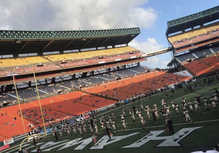 Oregon+State+Football+players+warm+up+prior+to+their+matchup+versus+the+Hawaii+Rainbow+Warriors+on+September+7+at+Aloha+Stadium+in+Honolulu%2C+Oahu.%C2%A0