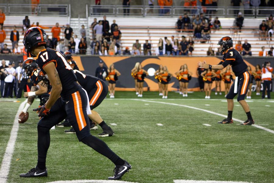 OSU Football junior wide receiver lines up for a play versus Oklahoma State in Reser Stadium on Aug. 30.