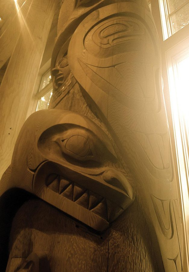 There+are+13+creatures+carved+on+this+800-year-old+cedar+tree+totem+pole%2C+located+in+the+Native+American+Longhouse%2C+Eena+Haws.