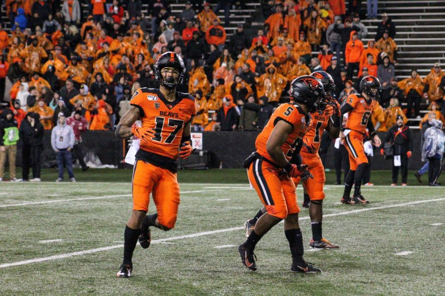 OSU Football junior wide receiver Isaiah Hodgins lines up against Stanford on Sept. 28 in Reser Stadium.