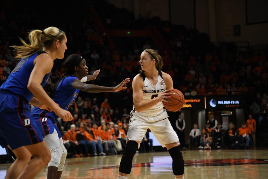 OSU senior guard Mikayla Pivec (#0) looks for a pass against two DePaul defenders in the third round of the WNIT in Gill Coliseum on Nov. 14.