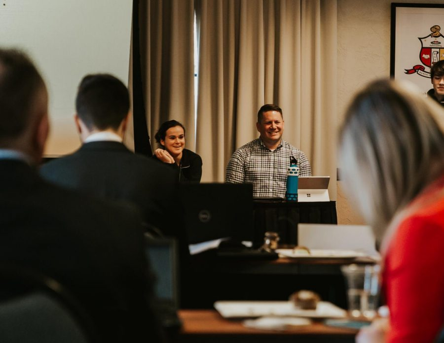 Rachel Josephson, ASOSU president, and Drew Desilet, ASOSU faculty advisor, during the SFC unit presentations.