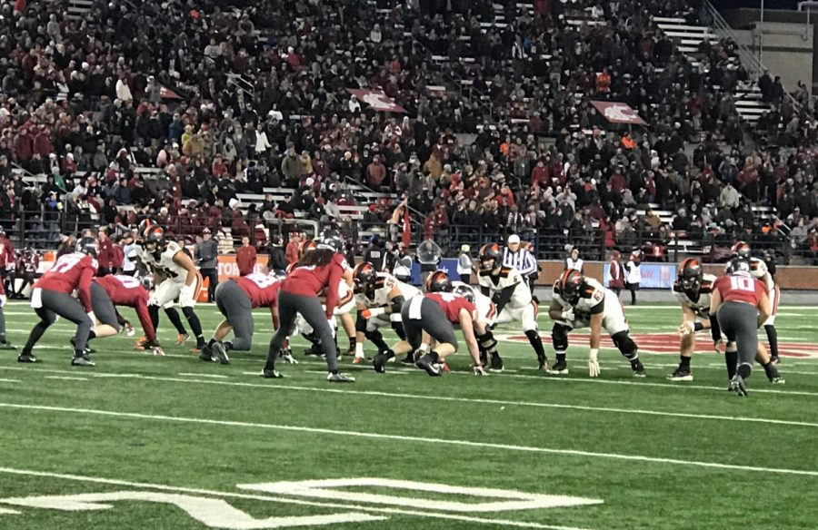The Oregon State Football offense lines up against the Washington State defense in their matchup on Nov. 23 in Pullman, Wash.